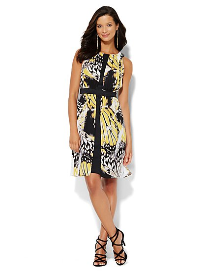 Chiffon Overlay Scuba Dress - Butterfly Print - New York & Company