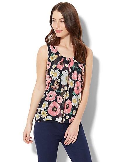 Chiffon-Overlay Shell - Floral - New York & Company