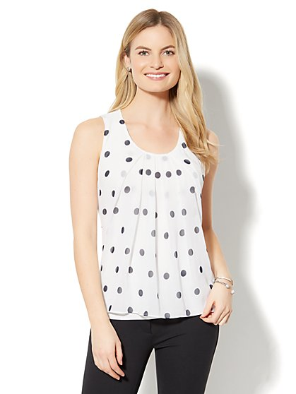 Chiffon-Overlay Shell - Polka-Dot Print - New York & Company