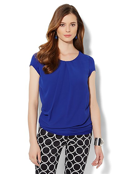 Chiffon Overlay Side-Ruched Top  - New York & Company