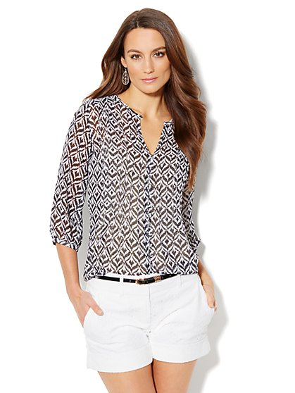 Chiffon Pleated Blouse - Ikat Print - New York & Company