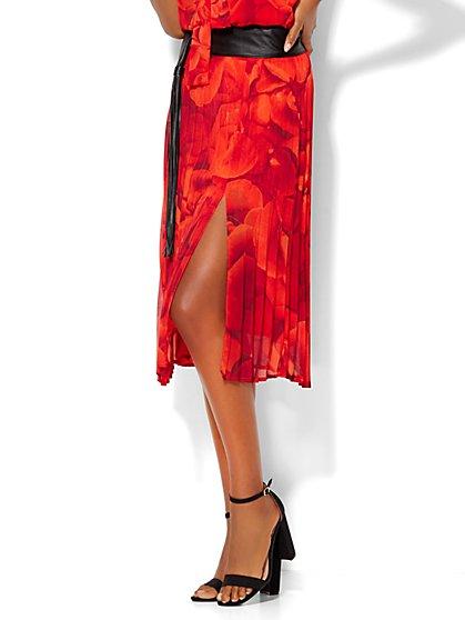 Chiffon Pleated Skirt - Floral - Petite  - New York & Company