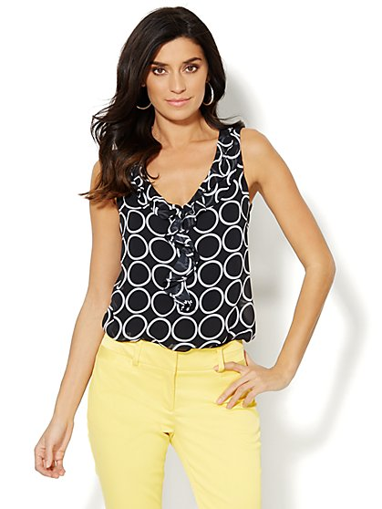 Chiffon Ruffle-Trim Top - Circle Print  - New York & Company