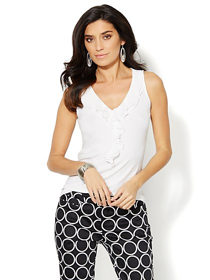 Chiffon Ruffle-Trim Top - Solid  - New York & Company
