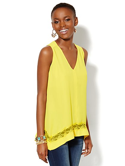 Chiffon Scarf-Hem Top  - New York & Company