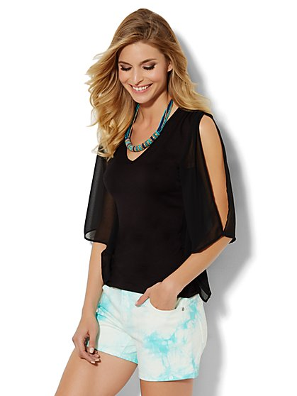 Chiffon-Sleeve Cold-Shoulder Top - New York & Company