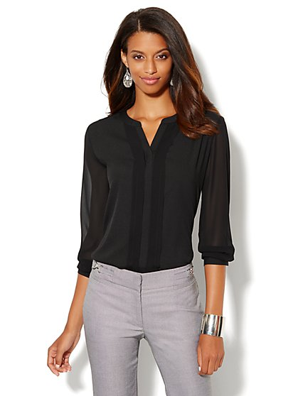 Chiffon Split-Neck Blouse  - New York & Company