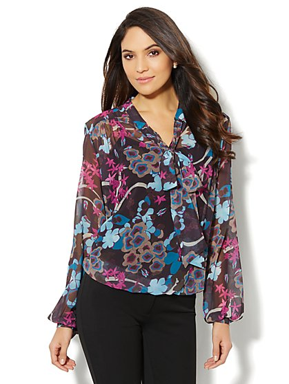 Chiffon Tie-Front Blouse – Floral Print - New York & Company