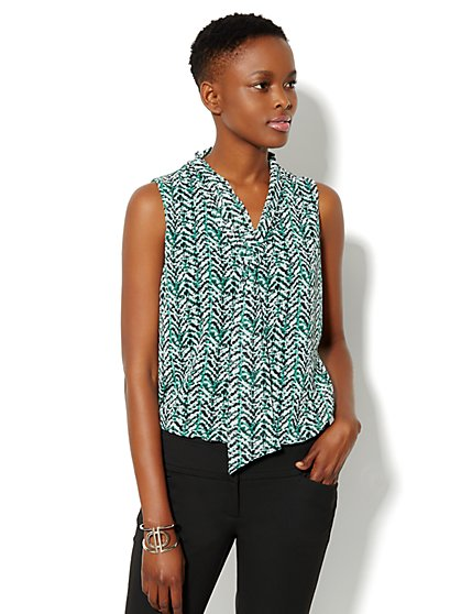 Chiffon Tie-Front Knit Blouse - Abstract Print