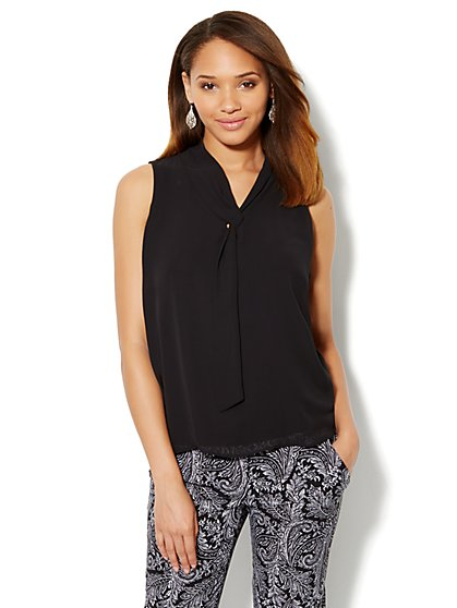 Chiffon Tie-Front Knit Blouse - New York & Company