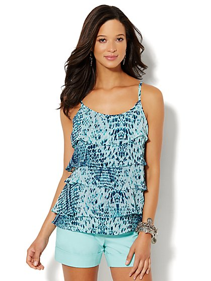 Chiffon Tiered Camisole - Animal Print   - New York & Company