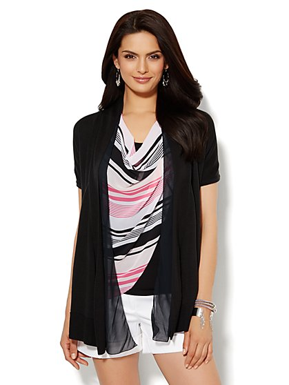 Chiffon-Trim Flyaway Cardigan  - New York & Company