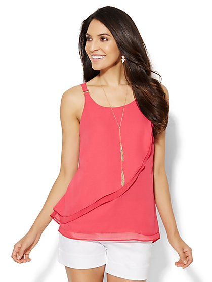 Chiffon-Trim Sleeveless Blouse  - New York & Company