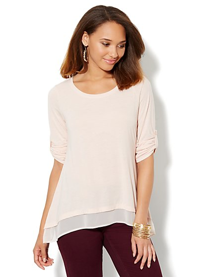 Chiffon-Trim Tunic - New York & Company