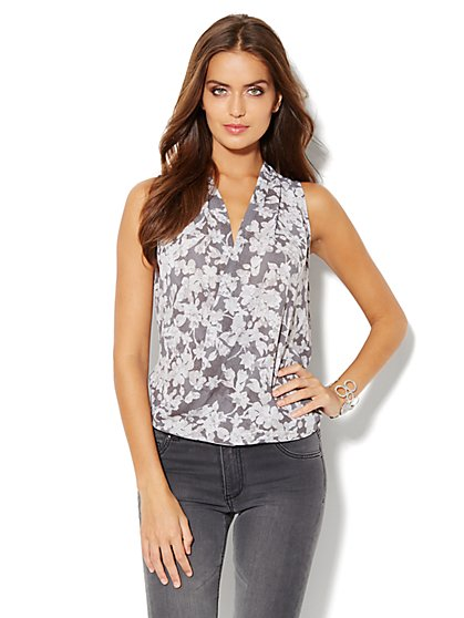 Chiffon Wrap Blouse - Floral - New York & Company