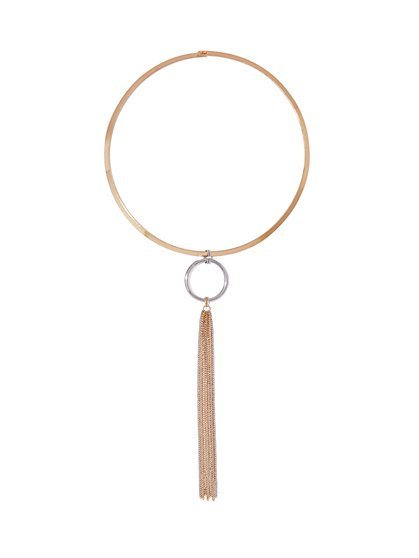 Circle & Fringe Collar/Pendant Necklace  - New York & Company