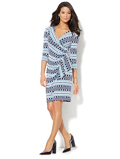 Circle-Print Faux-Wrap Ruffle Dress  - New York & Company