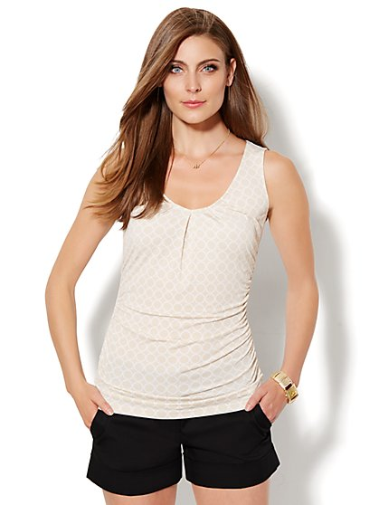 Circle-Print V-Neck Top - New York & Company