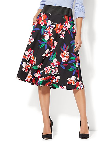 Circle Skirt - Black Floral Print - New York & Company