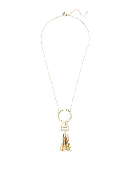 Circle & Tassel Pendant Necklace  - New York & Company