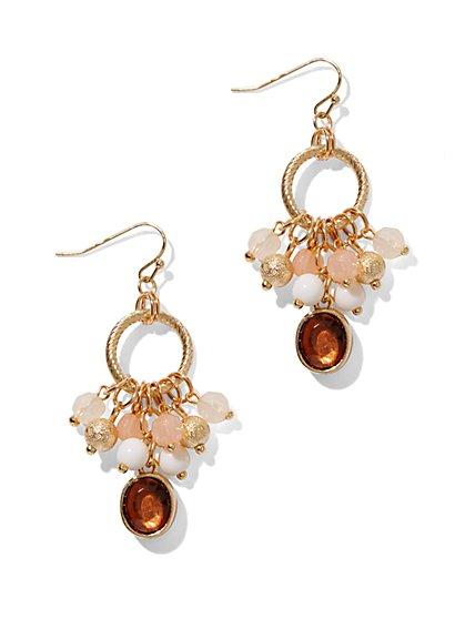 Circular Drop Earrings With Beaded Accents  - New York & Company