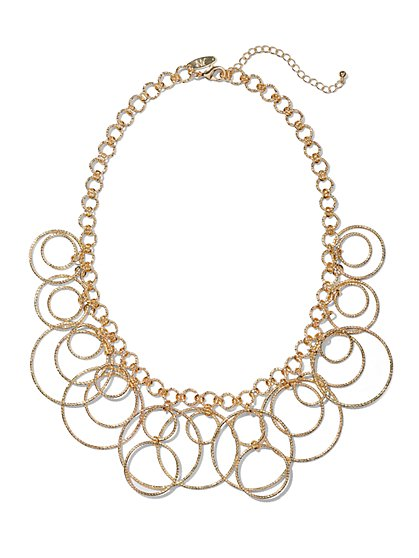 Circular Link Bib Necklace  - New York & Company