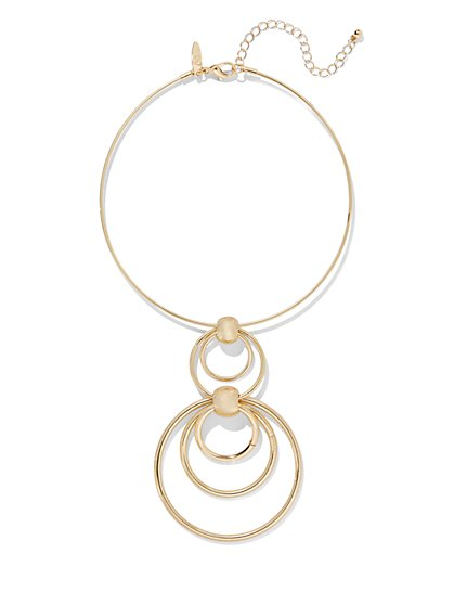 Circular Pendant Choker Necklace  - New York & Company
