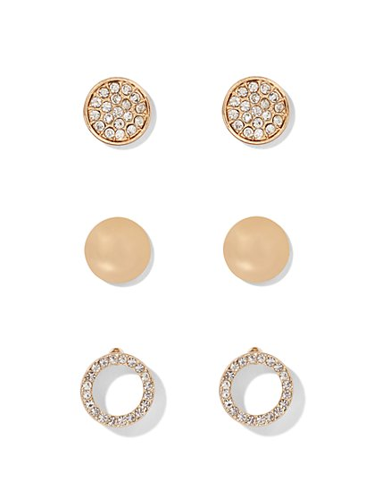 Circular Post Earring Three-Piece Set  - New York & Company