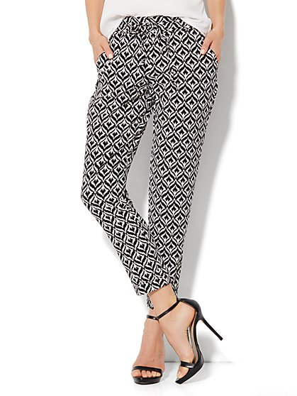 City Crepe - 7th Avenue Cuffed Ankle Soft Pant - Print - New York & Company