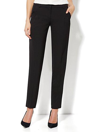 City Crepe - 7th Avenue Slim Ankle Soft Pant - Black - New York & Company