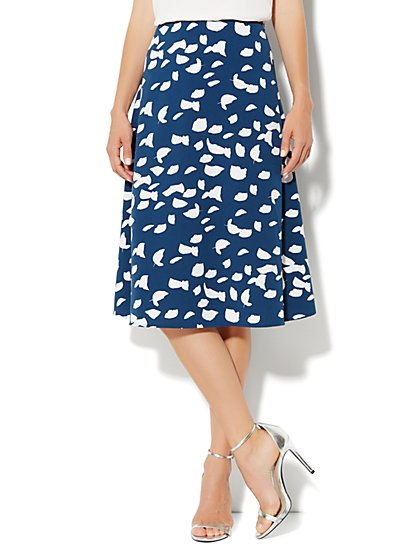 City Crepe - A-Line Skirt - Leaf Print  - New York & Company
