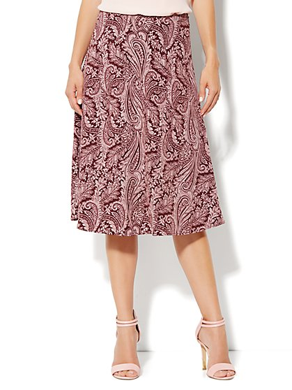 City Crepe - A-Line Skirt - Paisley - New York & Company
