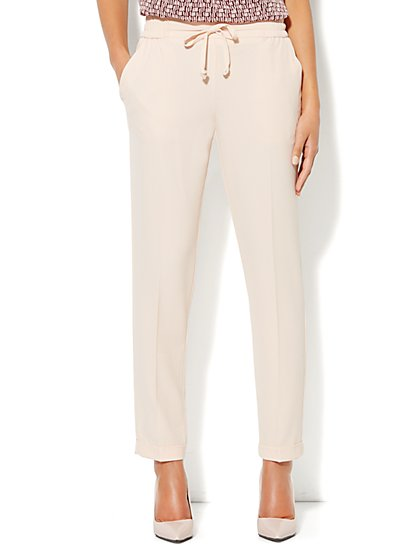 City Crepe - Drawstring Soft Track Pant - Peach - New York & Company