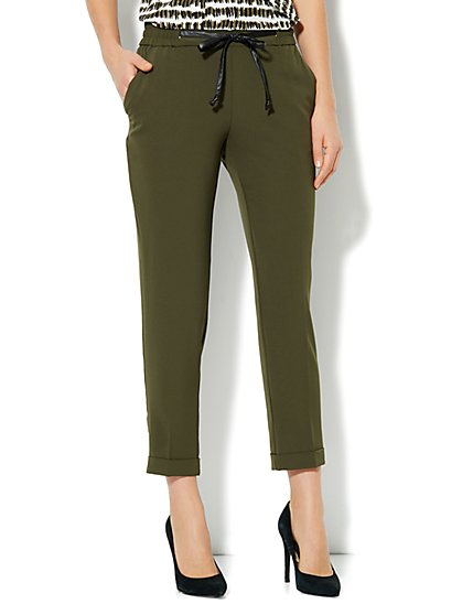 City Crepe - Faux-Leather Drawstring Soft Track Pant  - New York & Company