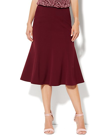 City Crepe - Flare Seamed Skirt