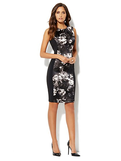 City Crepe - Floral Panel Sheath Dress - New York & Company