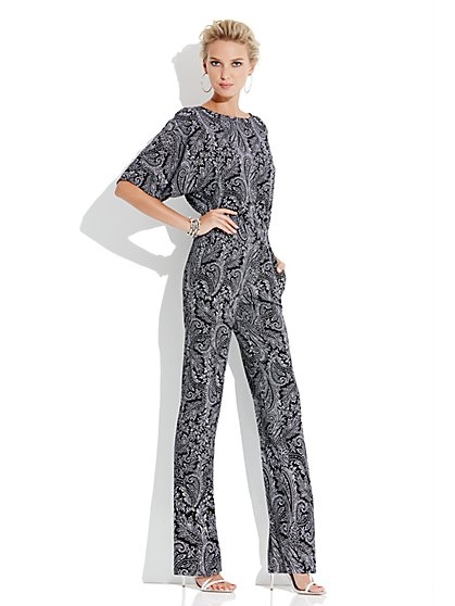 City Crepe - Kimono Sleeve Back-Wrap Jumpsuit - Paisley - New York & Company