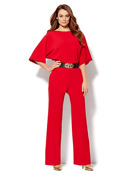 City Crepe - Kimono Sleeve Back-Wrap Jumpsuit - New York & Company