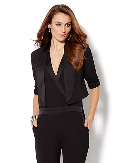 City Crepe - Open-Front Tuxedo Jacket  - New York & Company
