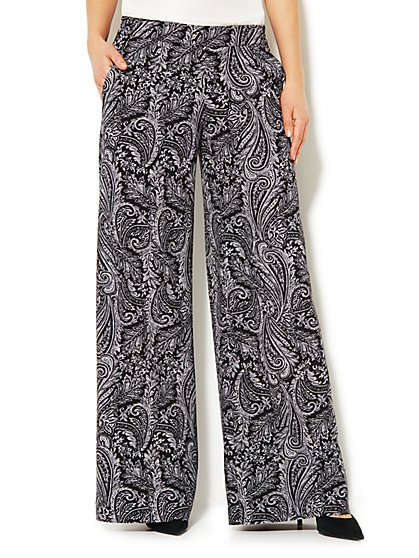 City Crepe - Paisley Palazzo Soft Pant  - New York & Company