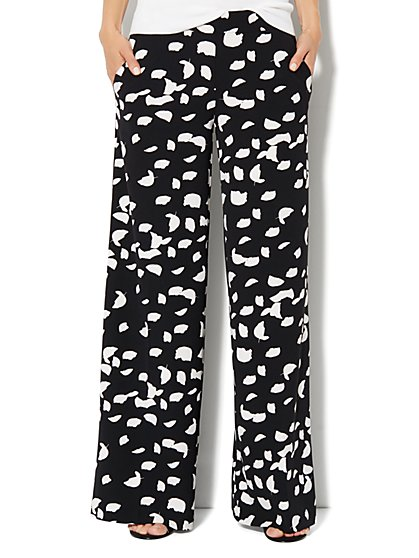 City Crepe - Palazzo Soft Pant - Abstract-Leaf Print