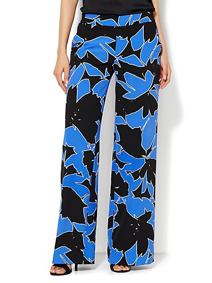 City Crepe - Palazzo Soft Pant - Botanical Print - Petite - New York & Company