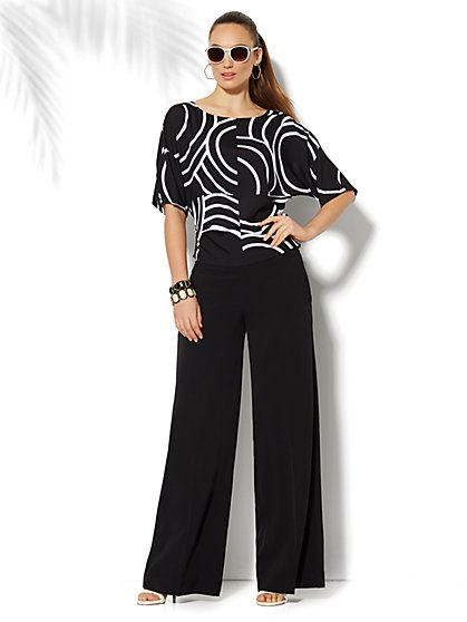 City Crepe - Palazzo Soft Pant - Flat-Front - Petite - New York & Company