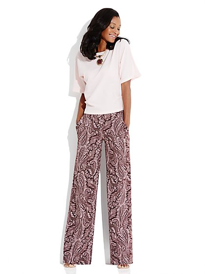 City Crepe - Palazzo Soft Pant - Paisley - New York & Company
