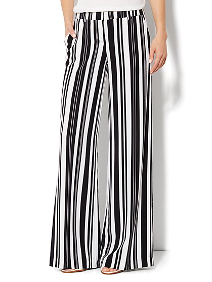 City Crepe - Palazzo Soft Pant - Stripe - New York & Company
