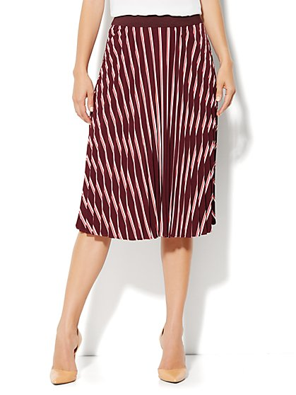City Crepe - Pleated Stripe Skirt - New York & Company