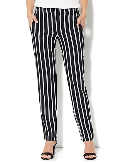 City Crepe - Slim Leg Soft Trouser Pant - Stripe - New York & Company