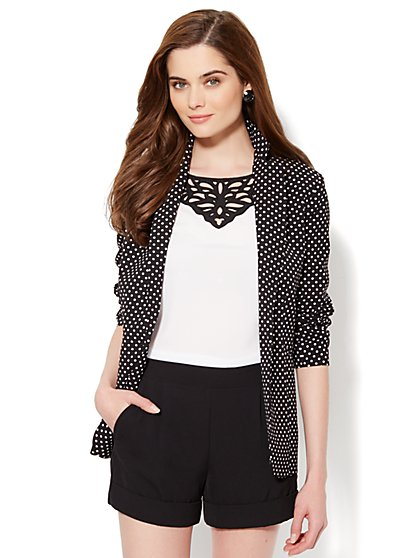 City Crepe - Soft Blazer - Polka-Dot Print