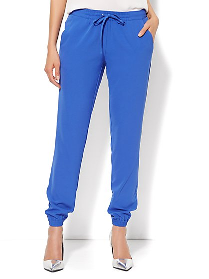 City Crepe - Soft Drawstring Jogger - Sporty Blue  - New York & Company