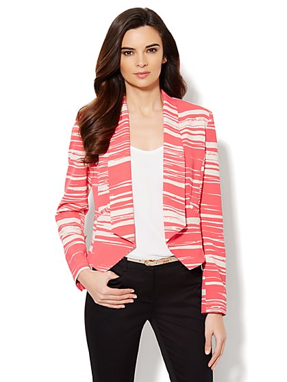 City Crepe - Soft Flyaway Jacket - Abstract Print